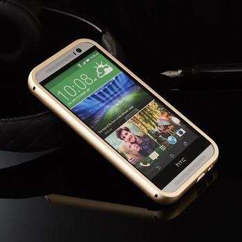 HTC One M8 Metal Bumper+Hard Back Cover Gold