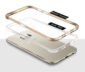 Samsung Galaxy S6 Edge Clear Case+Aluminum Bumper Gold