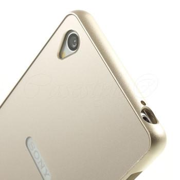 Sony Xperia Z3+Plus Gold Metal Bumper+Hard Back Case