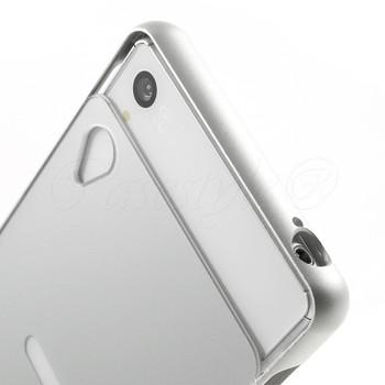 Sony Xperia Z3+Plus Silver Metal Bumper+Hard Back Case
