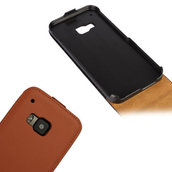 HTC One M9 Leather Flip Case Brown