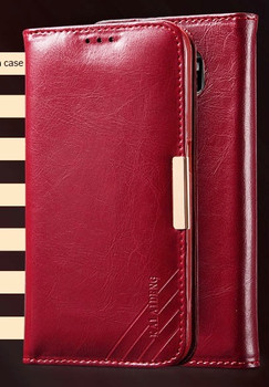 Samsung S6 EDGE+PLUS Premium Leather Wallet Case Red