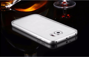 Samsung S6 Metal Bumper Case Silver+Clear Back