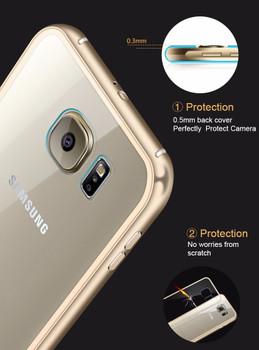 Samsung S6 Metal Bumper Case Gold+Clear Back