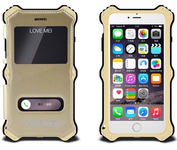 iPhone 6 6S Aluminum+Leather Qi Wireless Case MK2 Gold
