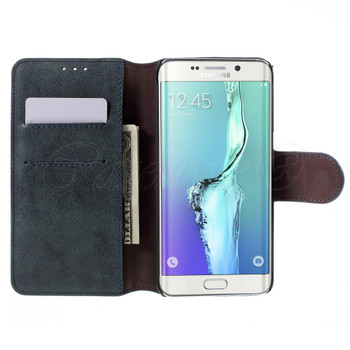 Samsung Galaxy S6 Edge+Plus Leather Wallet Folio Case Blue