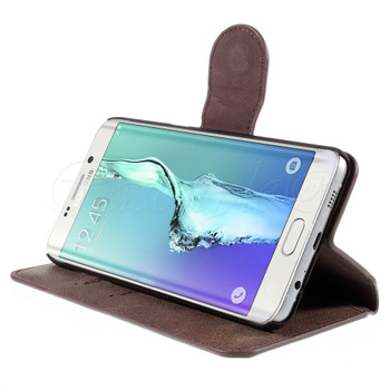 Samsung Galaxy S6 Edge+Plus Leather Wallet Folio Case Coffee