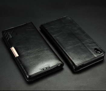 Sony Xperia Z5 Premium 4K Leather Wallet Case Black