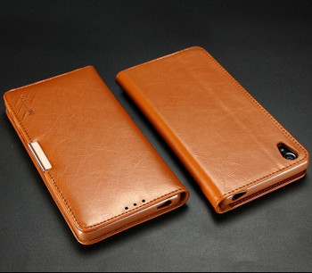 Sony Xperia Z5 Premium 4K Leather Wallet Case Brown
