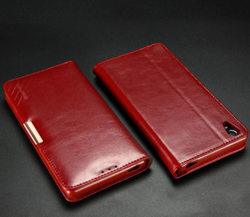 Sony Xperia Z5 Premium 4K Leather Wallet Case Red
