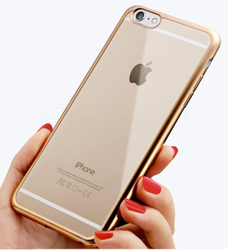 iPhone 6S+6 PLUS Bumper Cover Gold Clear Back