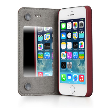 iPhone 5S 5 Leather Mirror Case Red