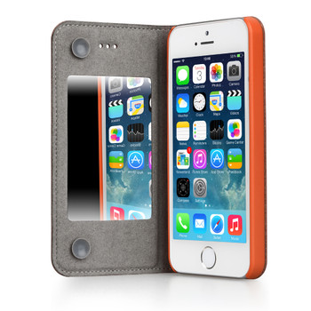 iPhone 5S 5 Leather Mirror Case Orange