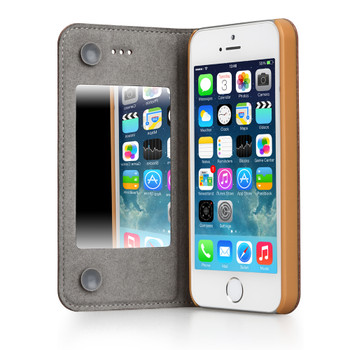 iPhone 5S 5 Leather Mirror Case Beige
