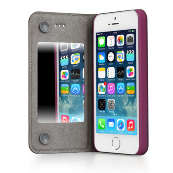 iPhone 5S 5 Leather Mirror Case Purple