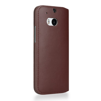 HTC One M8 Flip Case Cover Brown