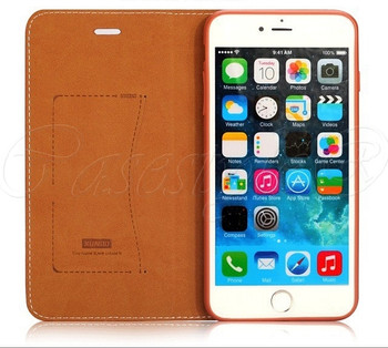 iPhone 6S 6 Leather Wallet Booklet Case Brown