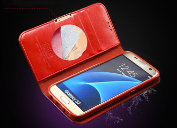 Samsung Galaxy S7 Edge Premium Leather Case Red