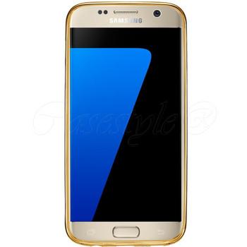 Samsung S7 Bumper Case Gold+Transparent Back