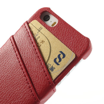 iPhone SE Genuine Leather Back Cover Red