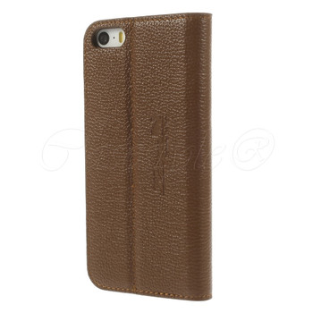 iPhone SE Real Leather Slim Cover Brown