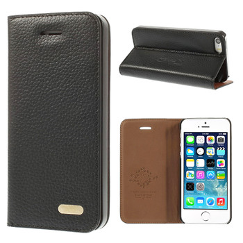 iPhone SE Leather Cover Black