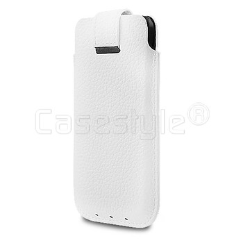 iPhone SE Real Leather Pouch White