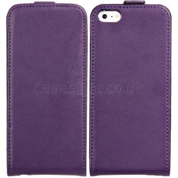 iPhone SE Leather Flip Case Purple