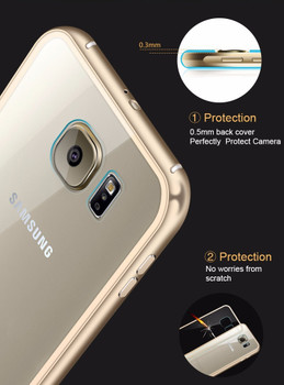 Samsung Galaxy S7 Metal Bumper Case Gold+Clear Back