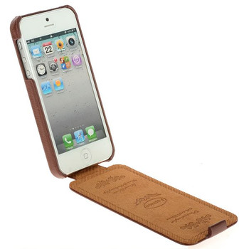 iPhone SE Leather Flip Cover Brown