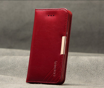 iPhone 5S 5 Premium Leather Wallet Case Red