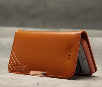iPhone SE Premium Leather Wallet Case Brown