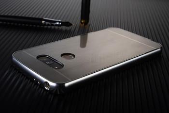LG G5 Metal Aluminum Bumper Case+Hard Back Silver