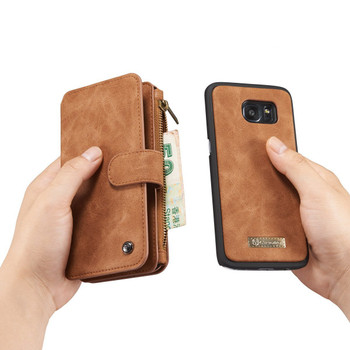 Samsung Galaxy S7 Leather Wallet Case Brown-14 Card Slots