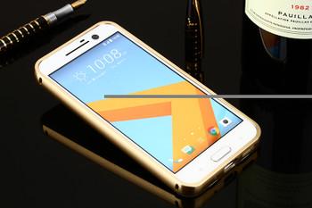 HTC 10 Aluminum Metal Bumper Case+Back Cover Gold
