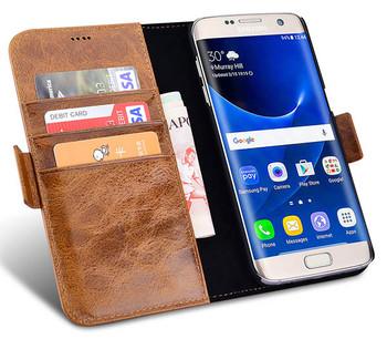 iCarer Samsung Galaxy S7 EDGE Vintage Leather Wallet Folio Case