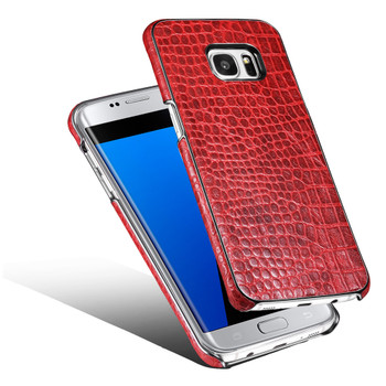 Samsung Galaxy S7 EDGE Real Leather Crocodile Luxury Case Red