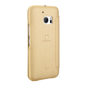 HTC 10 Soft Slim Flip Cover Case Gold