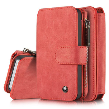 iPhone 5S 5 Leather Wallet Case Red-8 Card Slots