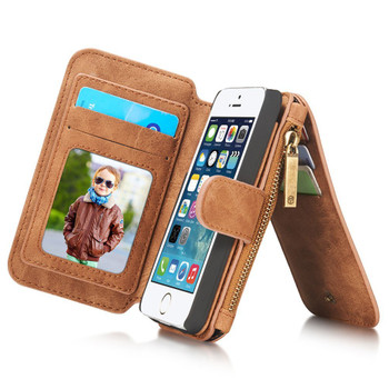 iPhone 5S 5 Leather Wallet Case Brown-8 Card Slots