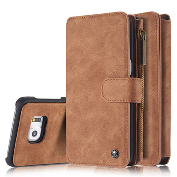 Samsung Galaxy S6 Leather Case Wallet Brown-14 Card Slots