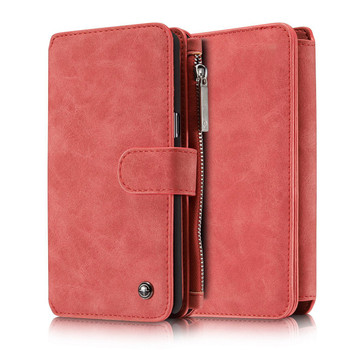 Samsung Galaxy Note 7 Leather Wallet Case Red-14 Card Slots