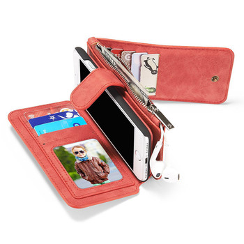 iPhone 7 Leather Wallet Case Cover Red-14 Card Slots