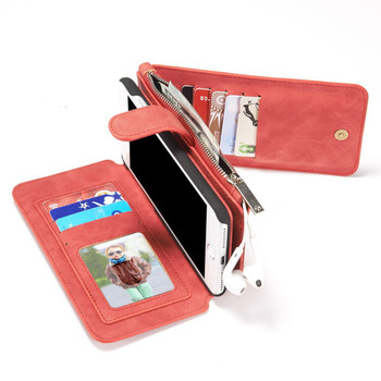 iPhone 7 PLUS Wallet Case Leather Red-14 Card Slots