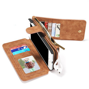iPhone 7 PLUS Wallet Case Leather Brown-14 Card Slots