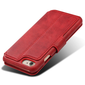 iPhone 7 Retro Leather Protective Wallet Cover Red