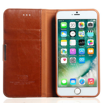 iPhone 7 PLUS Premium Leather Wallet Case Brown