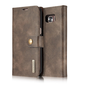 Samsung S7 EDGE Leather Wallet+Magnetic Removable Case Coffee