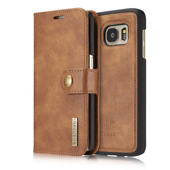 Samsung S7 Phone Leather Wallet+Magnetic Removable Case Brown
