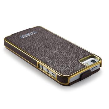 iPhone SE Real Leather Designer Flip Case Brown
